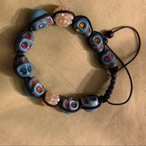Jewelry - Adjustable Turquoise Skull with Gem Eyes Bracelet